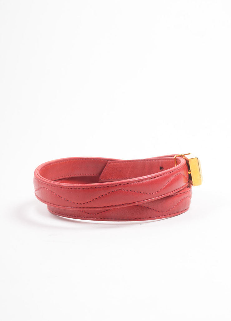 Lalique Red Leather Quilted Embellished Thin Buckle Belt Sideview