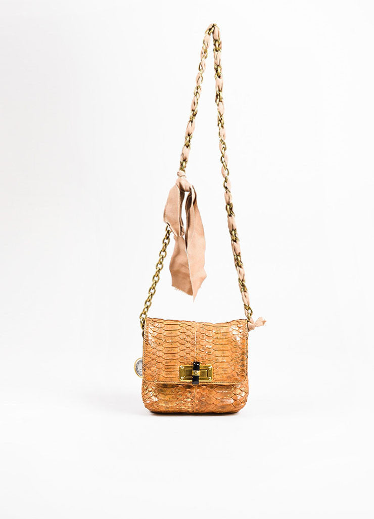 "Lanvin Blush, Tan, and Gold Toned Python Skin ""Happy Mini Pop"" Shoulder Bag Frontview"
