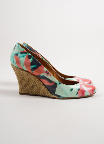 Lanvin Multicolor Coated Canvas Floral Print Espadrille Wedge Pumps Sideview