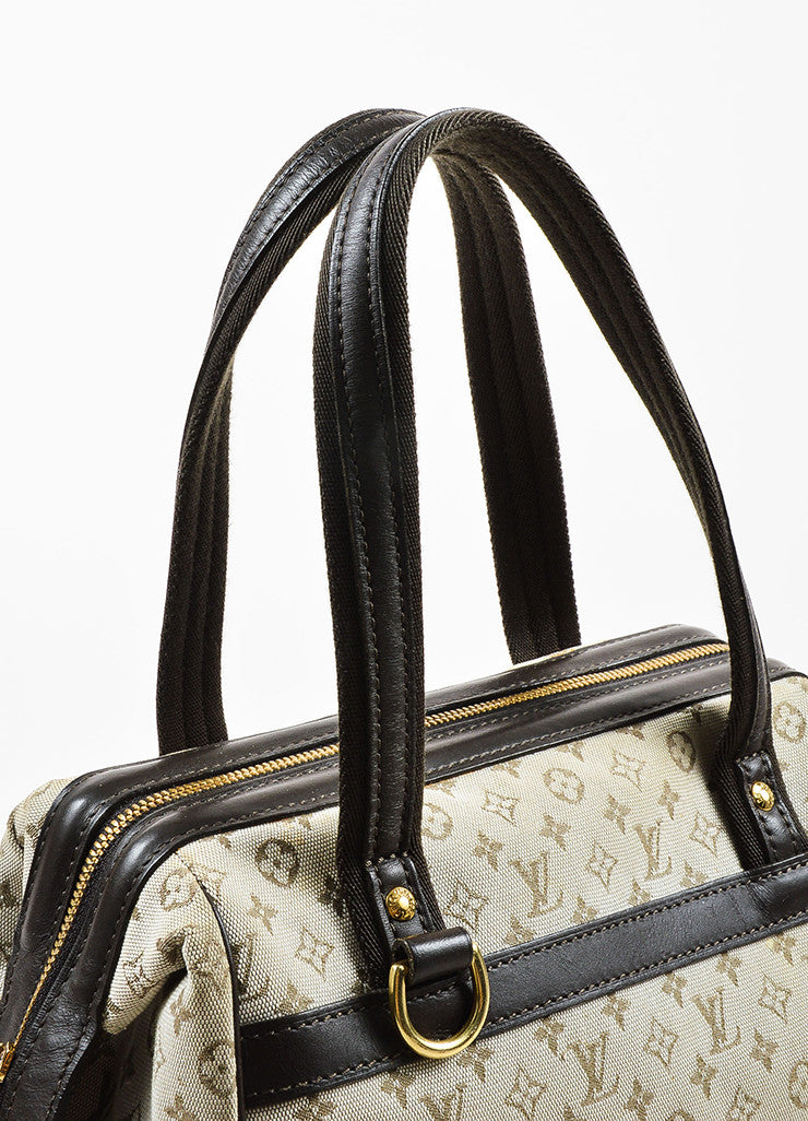 "Beige & Green Louis Vuitton Canvas Monogram ""Josephine PM"" Bag Detail 3"
