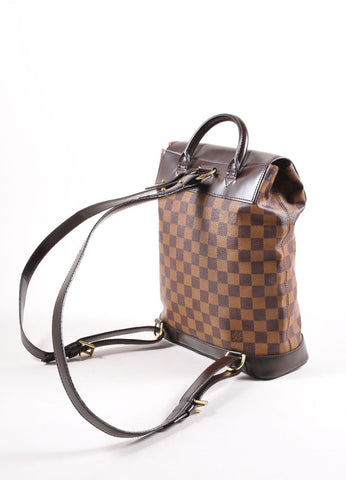 "Louis Vuitton Brown Damier Canvas Ebene ""Soho"" Backpack Sideview"
