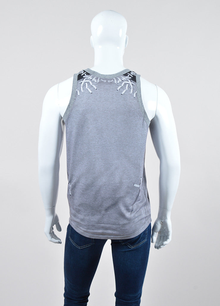 Men's Givenchy Grey and Black Laced Photo Print Tank Top Backview
