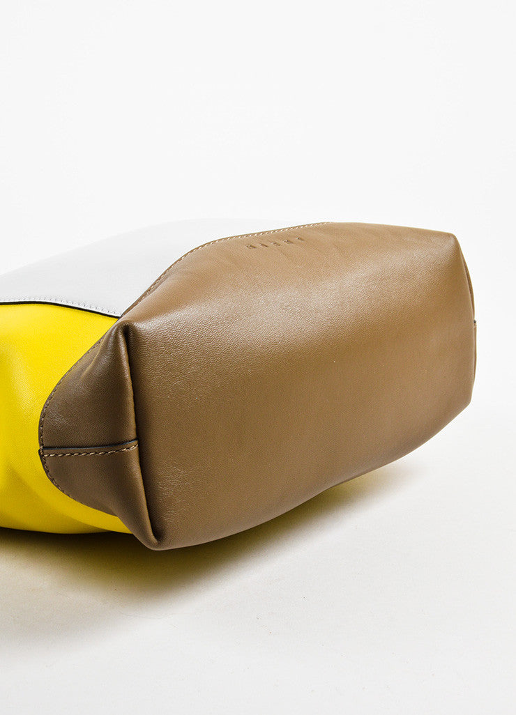 "Marni Yellow, Brown, and Grey Leather Colorblock ""Pod"" Fold Over Clutch Bag Bottom view"
