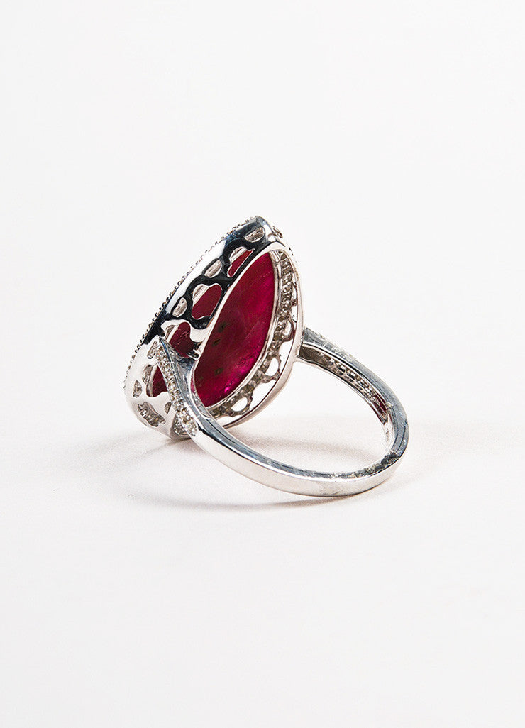 18k White Gold Pear Ruby Pave Diamond Tear Drop Cocktail Ring Backview