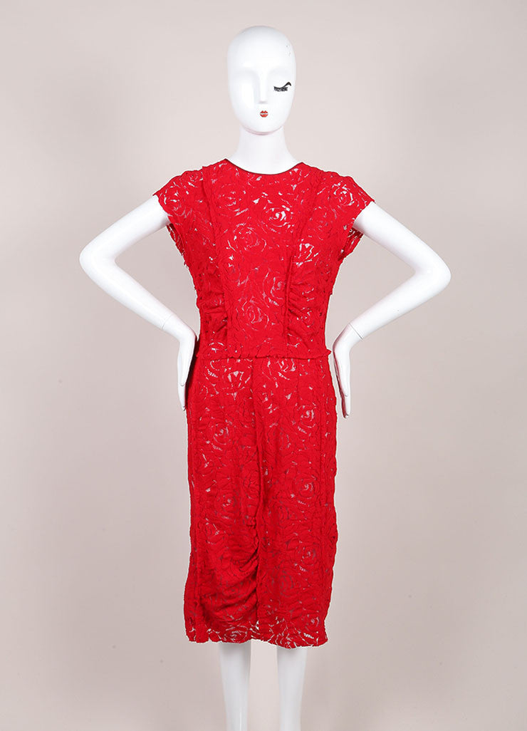 Nina Ricci Red Floral Lace Sleeveless Dress Frontview