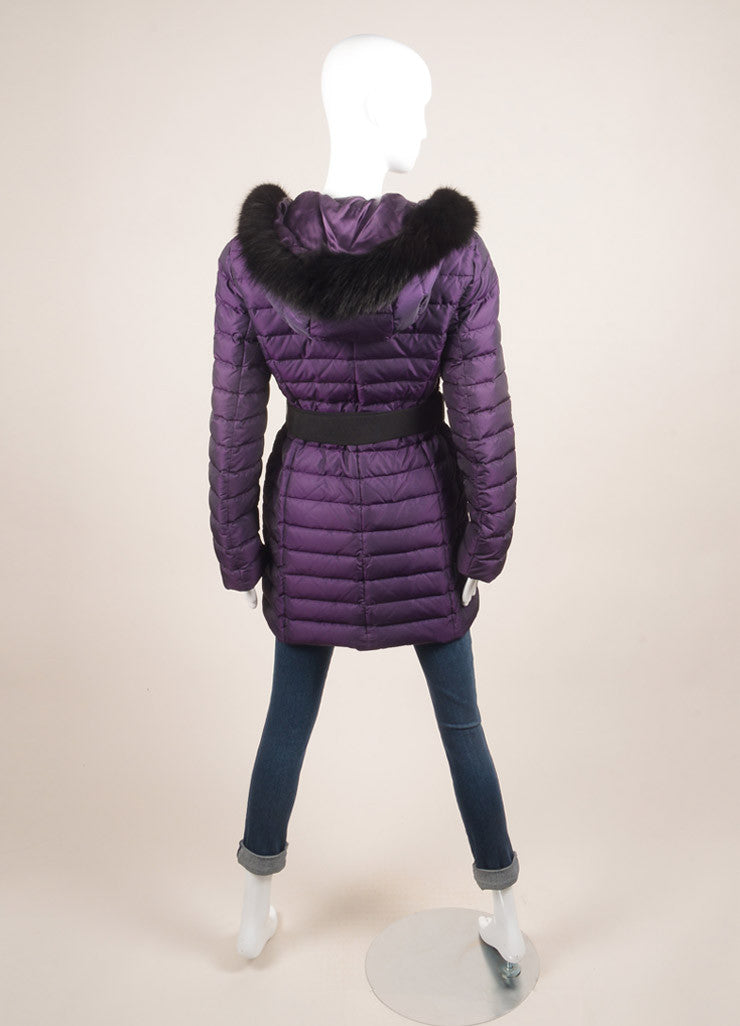 O Oscar de la Renta Purple and Black Fur Trim Belted Down Puffer Coat Backview