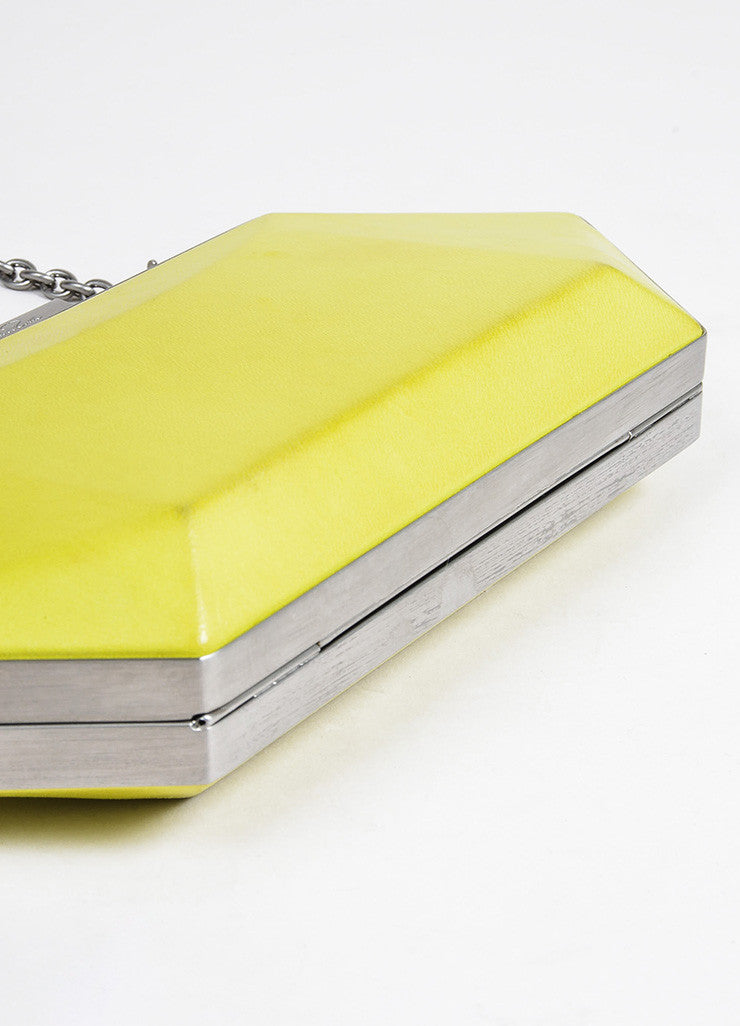 "Neon Yellow Oscar de la Renta Leather ""Cara"" Convertible Clutch Bag Bottom View"