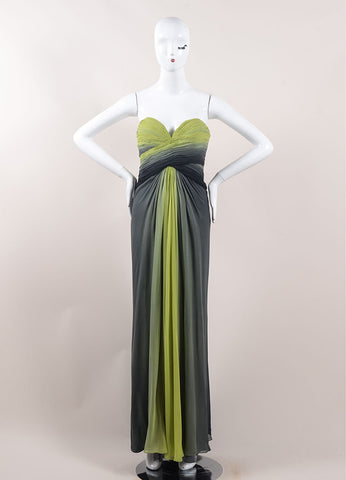 Pamella Roland Green and Black Ombre Silk Chiffon Strapless Gown Frontview