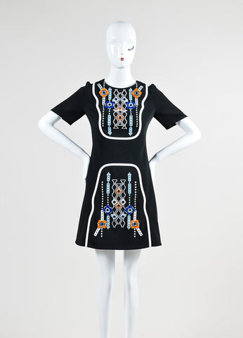 "Black, White, and Multicolor Embellished Peter Pilotto ""Atari"" Short Sleeve Dress Frontview"