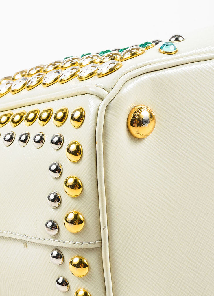 Prada Cream Saffiano Leather Rhinestone Stud Embellished Tote Handbag Detail