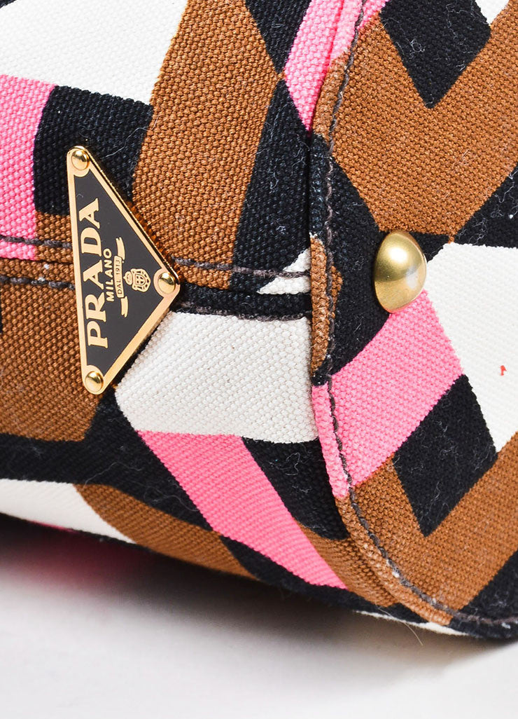 å´?ÌÜPrada Pink, Brown, and White Print Canvas Leather Bucket Shoulder Bag Detail