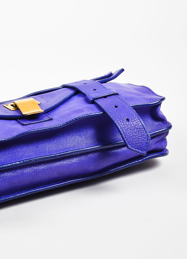 "Proenza Schouler Purple Leather Flap Tab Strap ""PS1 Pochette"" Clutch Bag bottom View"