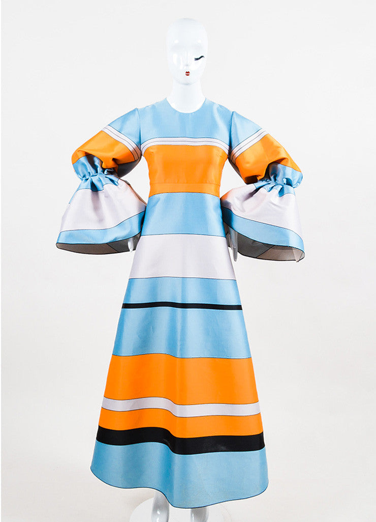 Blue & Orange Roksanda Jacquard Striped Puff Long Sleeve Dress Front 2