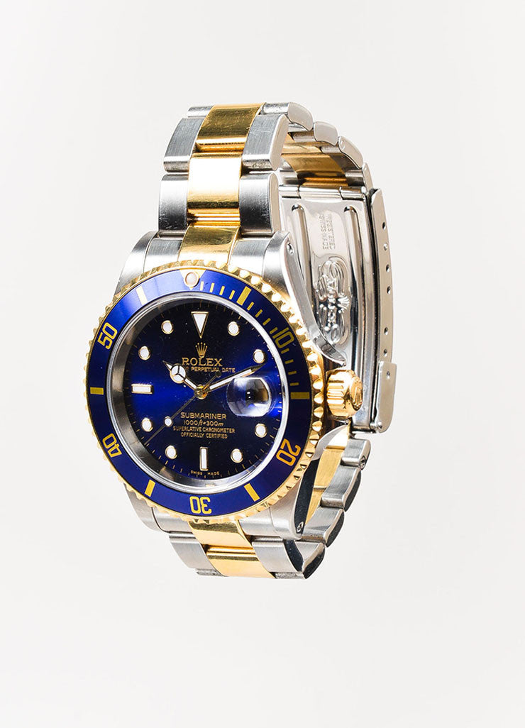 "Men's Rolex Stainless Steel 18k Yellow Gold ""Submariner"" Oyster Perpetual Watch Sideview"