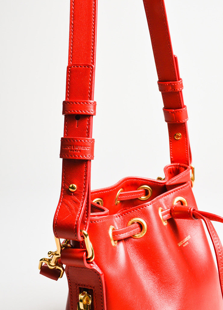 "Saint Laurent Red Leather Gold Toned ""Small Emmanuelle Bucket"" Crossbody Bag Detail 2"