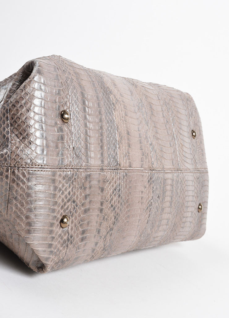 "Silver-Grey Metallic Python Salvatore Ferragamo ""Sophia"" Tote Bag Bottom View"