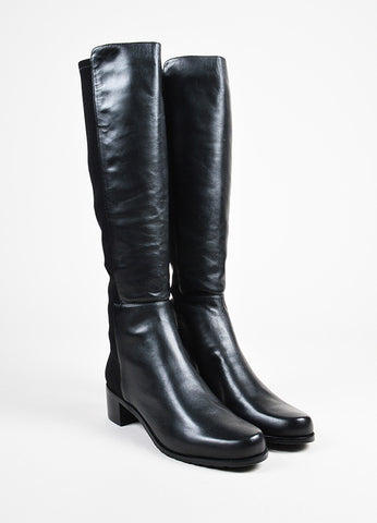 "Stuart Weitzman Black Leather Elastic ""Reserve"" Tall Boots Frontview"