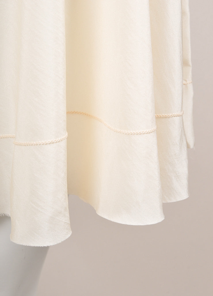 "The Row Cream Silk Sleeveless Asymmetric ""Raya"" Tunic Dress Detail"