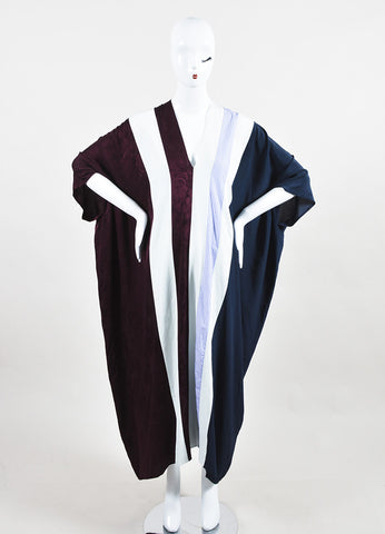 "The Row Maroon, Navy, and White Silk Striped ""Tunip"" Caftan Maxi Dress frontview"