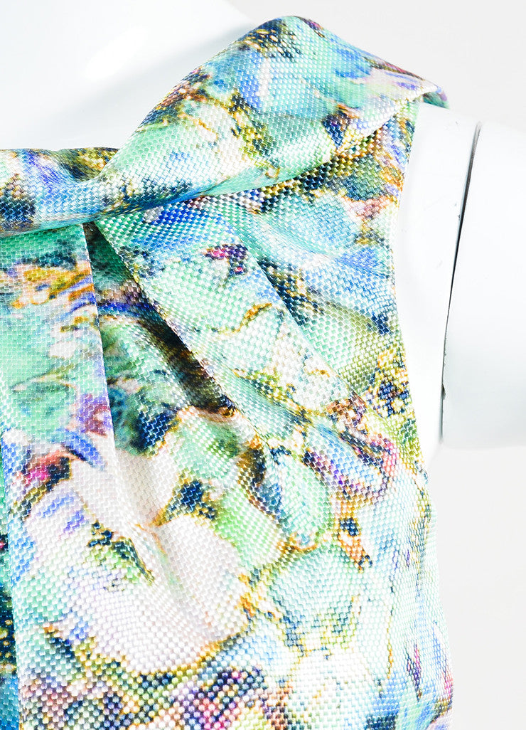 Theia Multicolor Pique Knit Silk Floral Print Belted Sheath Dress Detail