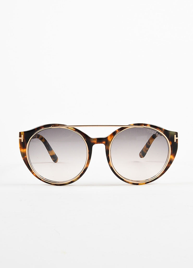 "Tom Ford Brown GHW ""Havana"" Tortoiseshell ""Joan"" Sunglasses Frontview"