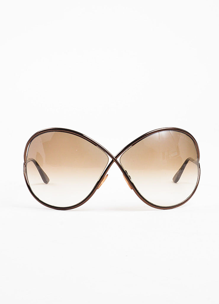 "Tom Ford Bronze Gradient Tint Cross Over ""Lilliana"" Butterfly Sunglasses Frontview"