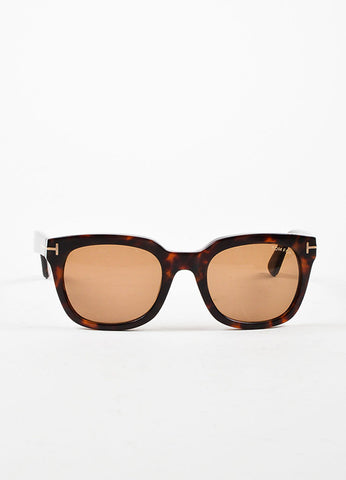 "¥éËTom Ford Brown Tortoiseshell ""Campbell"" Square Thick Frame Sunglasses Frontview"