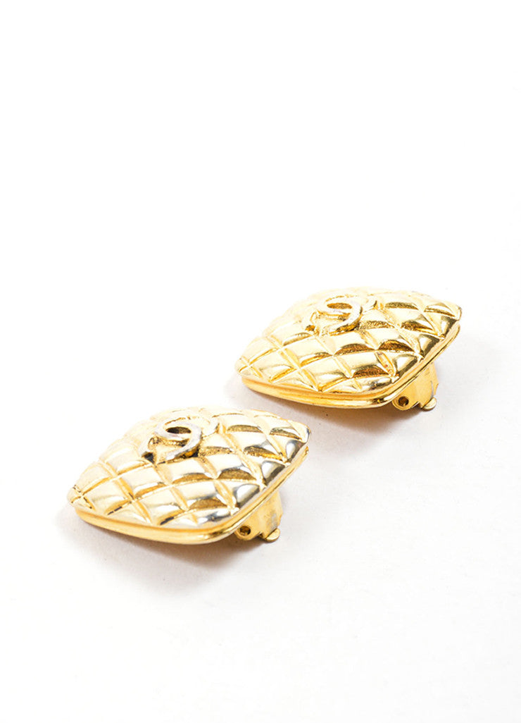 "Chanel Gold Toned Quilted ""CC"" Square Earrings Sideview"