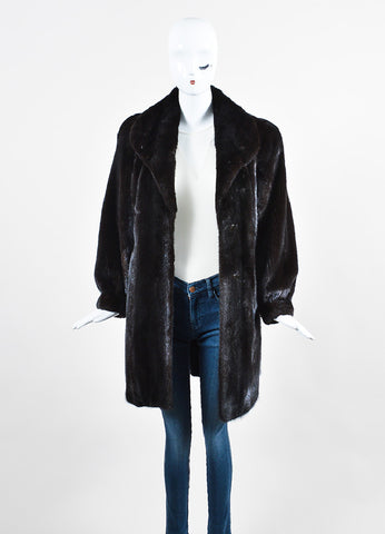 Dark Blackglama Brown Mink Fur Long Sleeve Coat Frontview