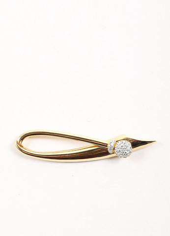 Courreges Gold Toned Rhinestone Embellished Loop Pin Frontview
