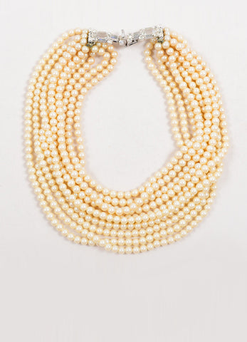 DeLillo Faux Pearl Ten Strand Rhinestone Clip Necklace Front