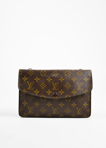 "Brown Louis Vuitton Coated Canvas Monogram Flap ""Double Rabat"" Clutch Front"