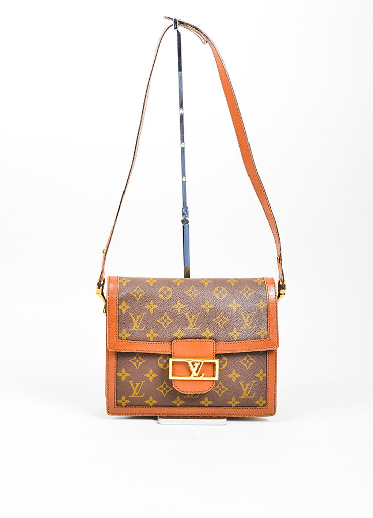 Brown Monogram Canvas Louis Vuitton 'LV' Buckle Shoulder Bag Frontview