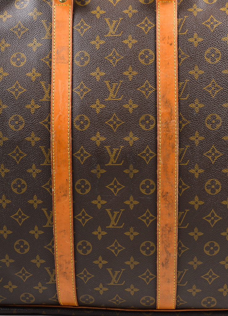 "Louis Vuitton Brown and Tan Canvas and Leather Monogram ""Sirius 60"" Suitcase Detail 6"