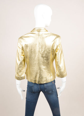 Sharon Roth Gold Leather Metallic Crop Sleeve Blazer Jacket Backview
