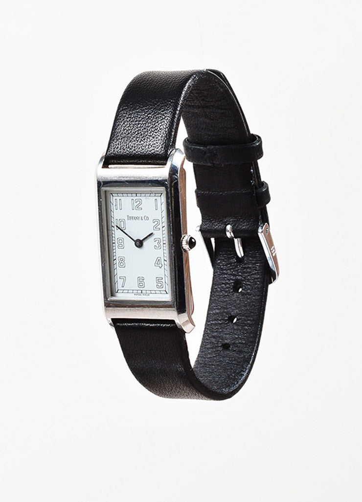 Tiffany & Co. Black Leather Quartz & Stainless Steel Rectangular Watch Front