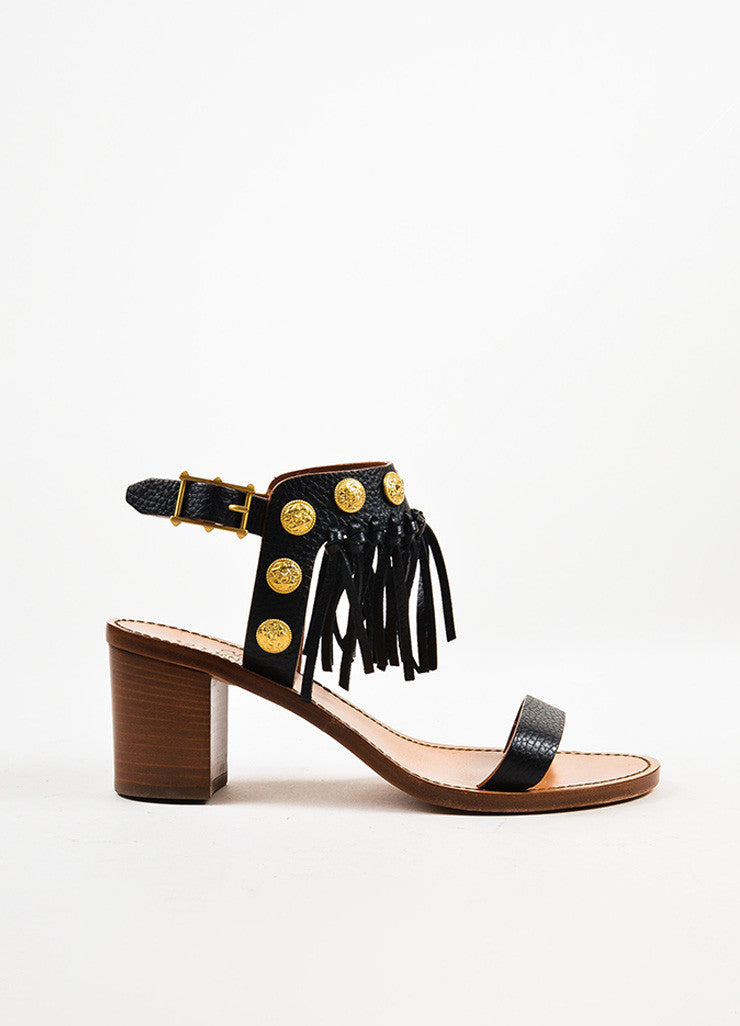 Valentino Black, Brown, and Gold Toned Leather Fringe Medallion Heel Sandals Sideview