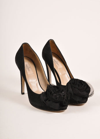 Valentino Black Suede Leather Chiffon Rosette Embellished Peep Toe Pumps Frontview