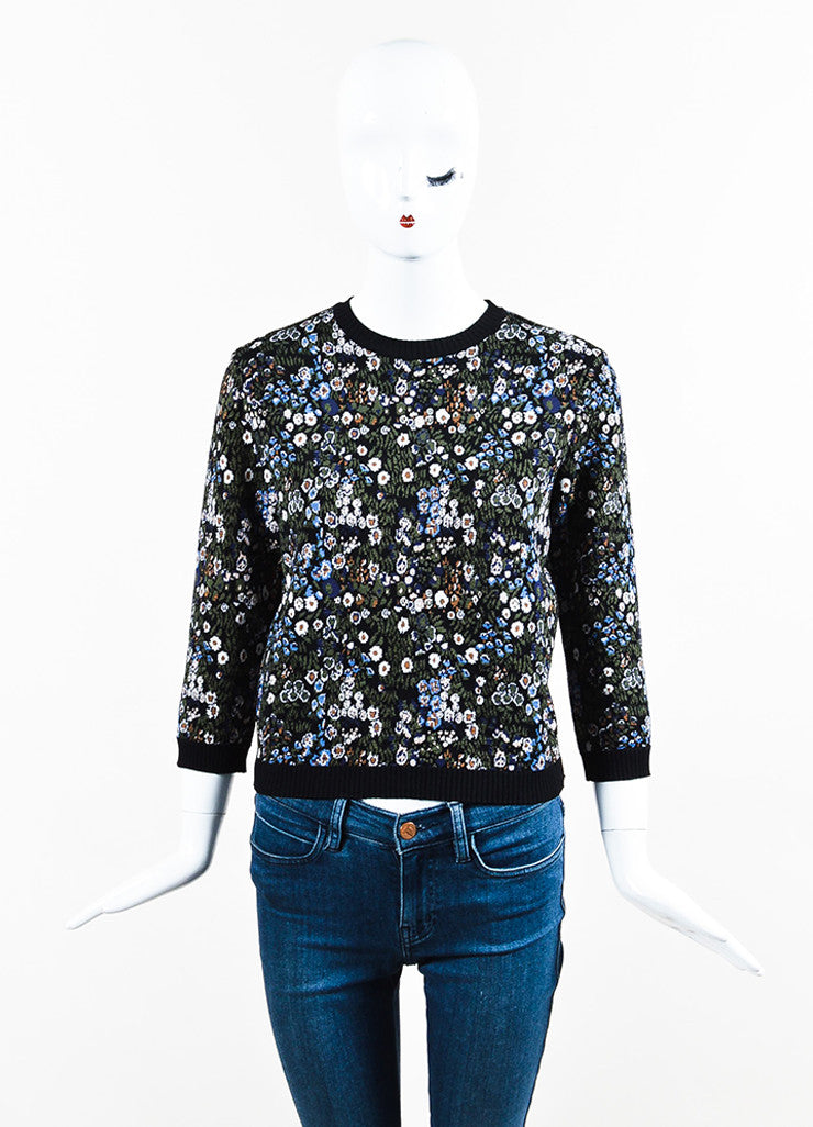 Multicolor Valentino Floral Design Garden Knit Top Front