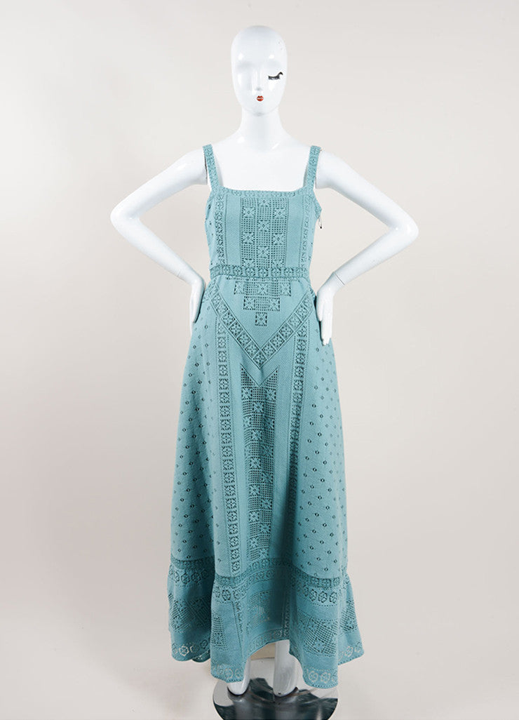 Valentino Teal Cotton Lattice Stitched Crochet Sleeveless Maxi Dress Frontview