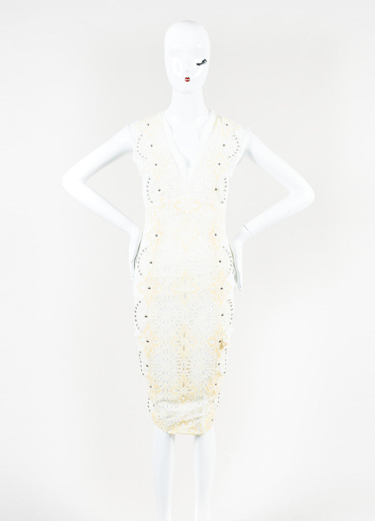 "Veronica Beard Cream and White Eyelet Lace Studded ""Evita"" Dress Frontview"