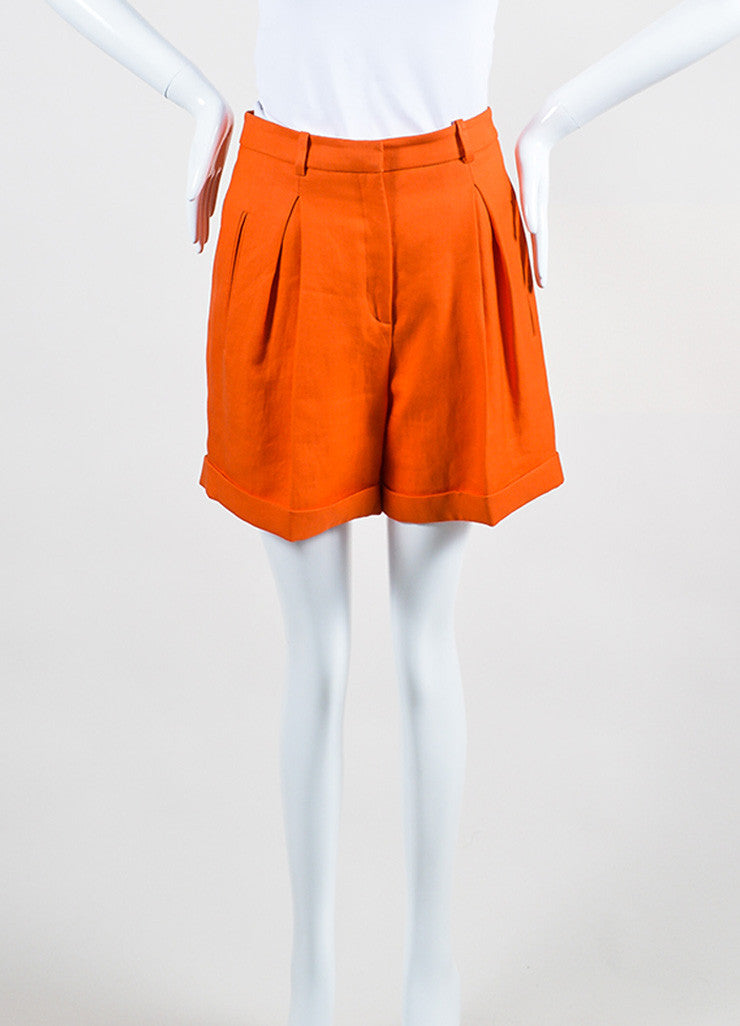 Bright Orange Versace Ramie High Waist Long Cut Cuffed Bermuda Shorts Frontview