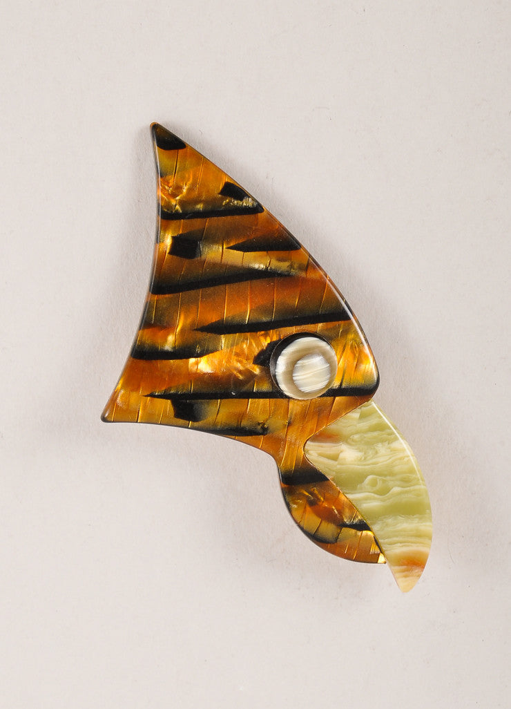 Lea Stein Brown and Green Acetate Parrot Head Brooch Frontview