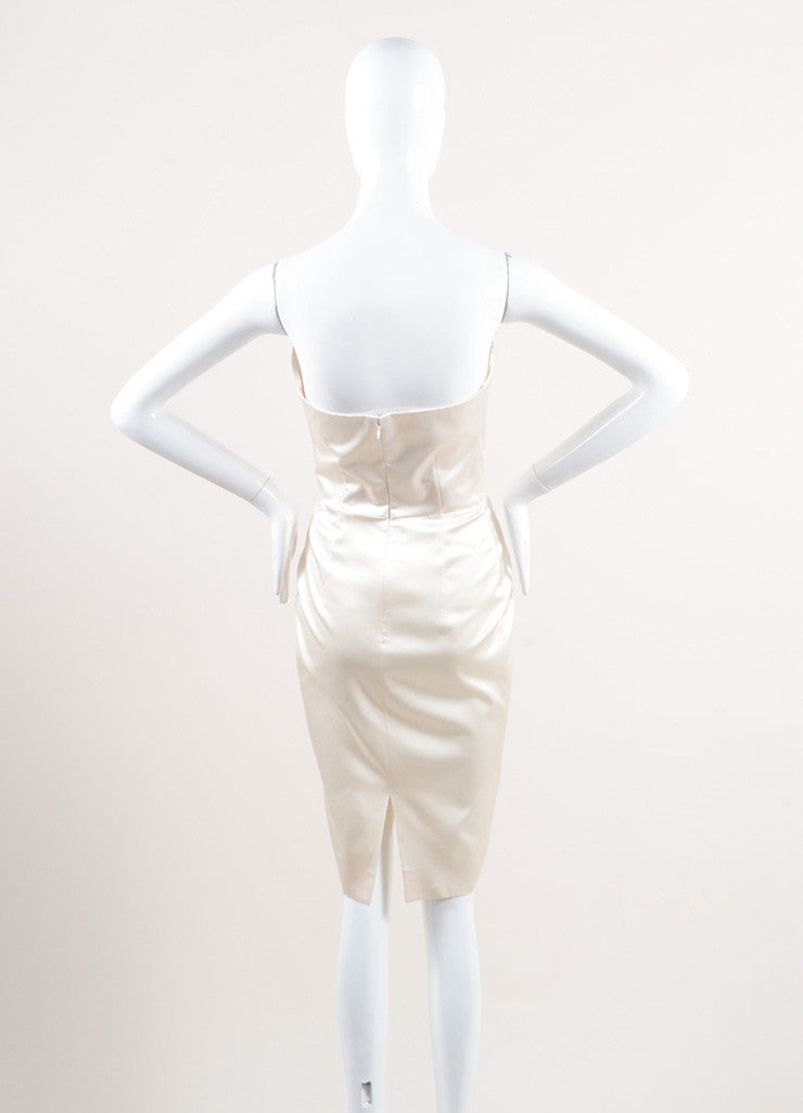 Yves Saint Laurent New With Tags Cream Silk Satin Corset Strapless Dress Backview