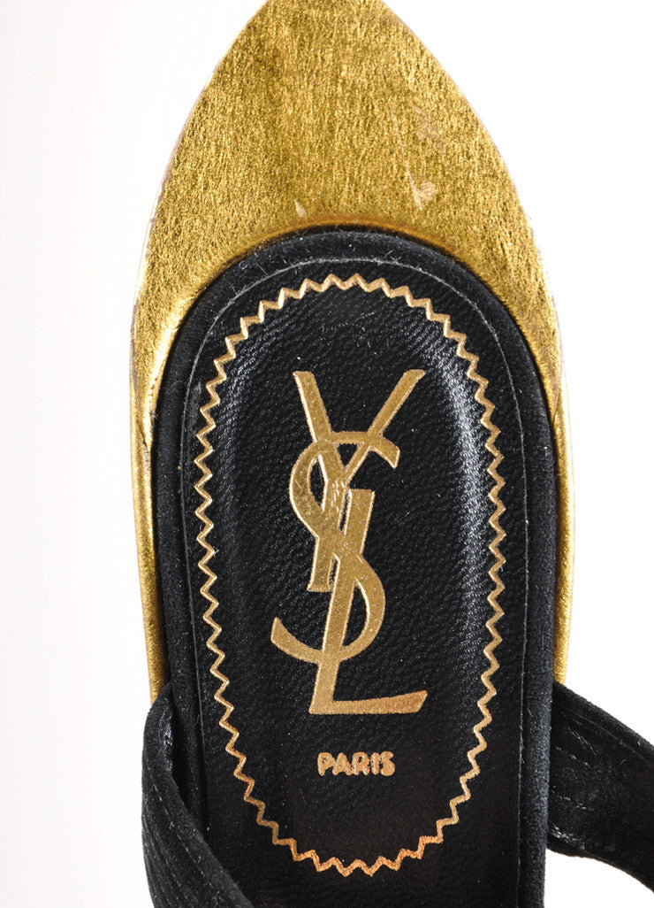 "Yves Saint Laurent Black and Gold Suede Metallic ""Totem"" Sandals Brand"