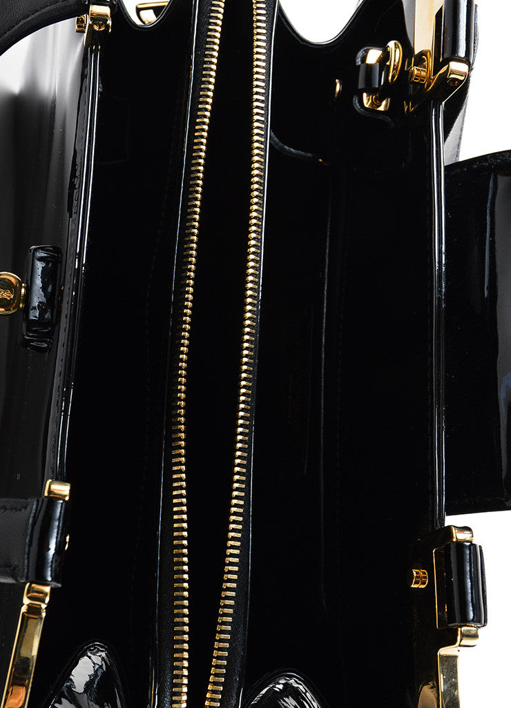 "Black and Gold Toned Yves Saint Laurent Rive Gauche Patent Leather ""Uptown"" Handbag Interior"