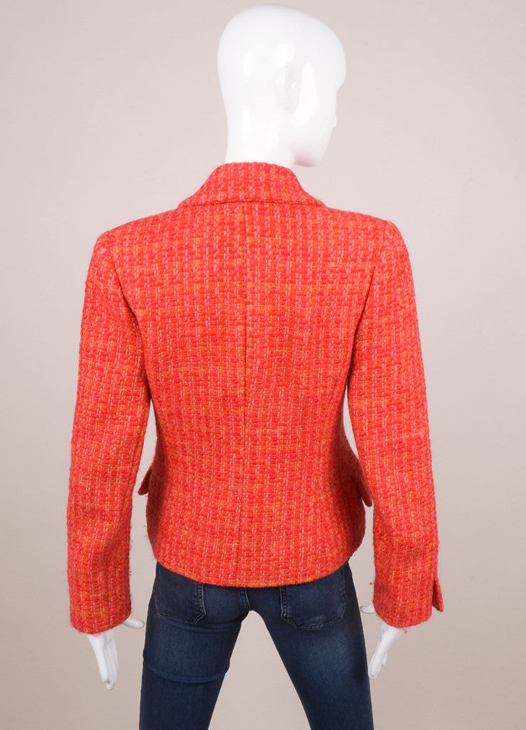 Chanel Red and Pink Tweed Long Sleeve Jacket Backview