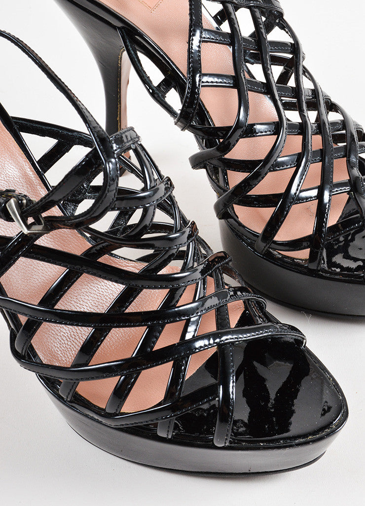 Alaia Black Patent Leather Lattice Open Back Platform High Heel Sandals Detail