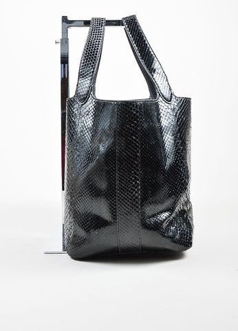 Alaia Black Snakeskin Leather Tote Bag Sideview