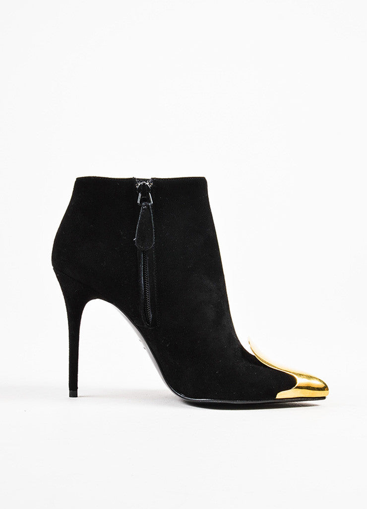 Alexander McQueen Black Suede Gold Cap Toe High Heel Booties Sideview